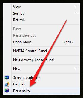 the Windows 7 Desktop right-click context menu