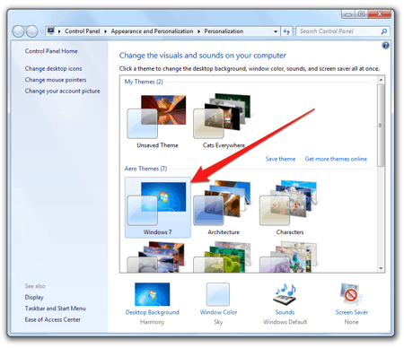 changing Windows 7 themes in the Control Panel
