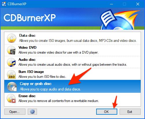 the CDBurnerXP start window