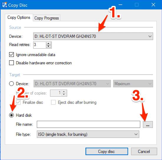 the Copy Disc window in CDBurnerXP