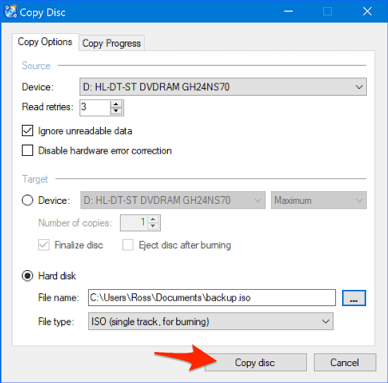 the Copy Disc panel in CDBurnerXP with an arrow pointing to the Copy disc button