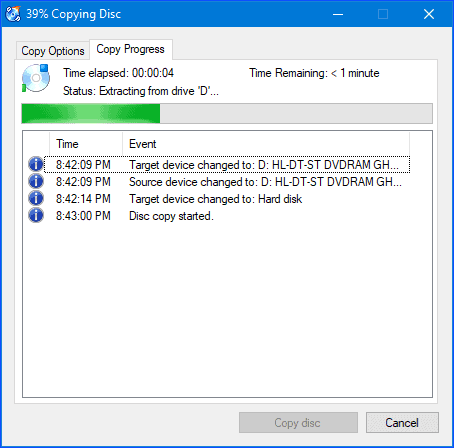 CDBurnerXP creating an ISO file from a CD/DVD in Windows
