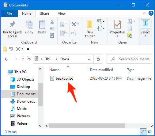 Windows Explorer with an ISO file listed