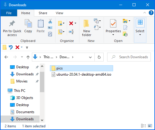 windows explorer displaying a file and a folder