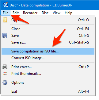 the File menu with Save complication as ISO file... highlighted