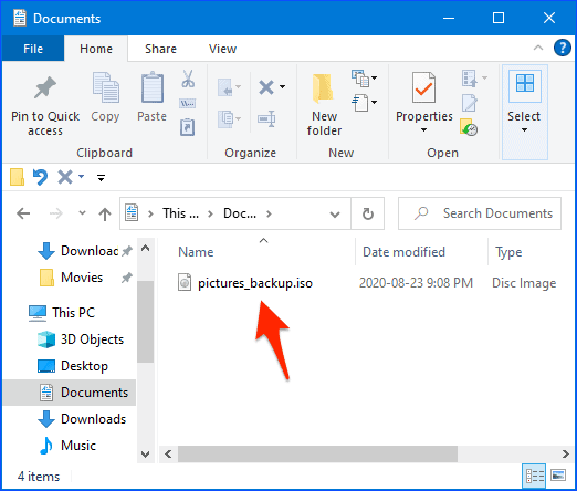 an ISO file listed in Windows Explorer