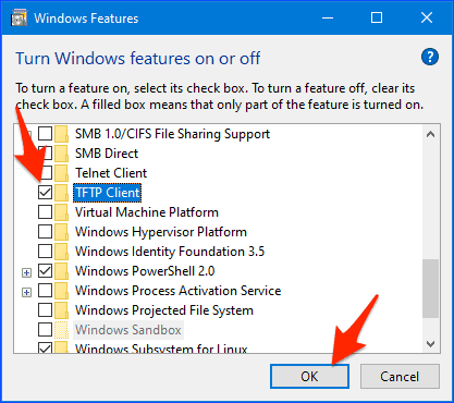 a list of Windows components with a check in the box next to TFTP Client