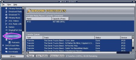 using winamp and your ipod