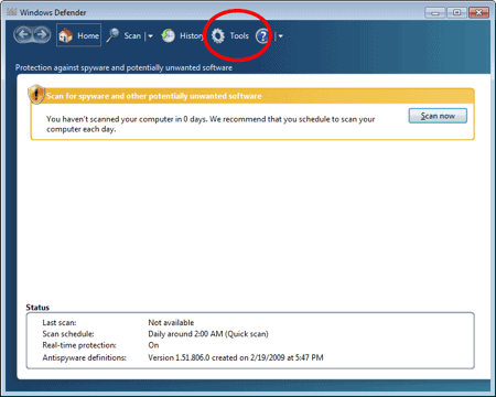 Windows Defender with a circle around Tools