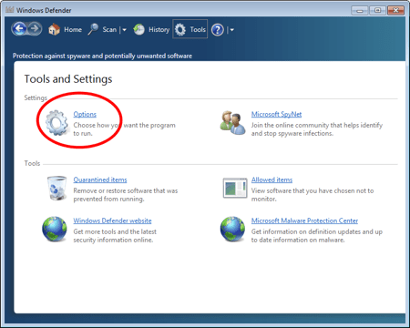 the Windows Defender Tools section with a circle around Settings