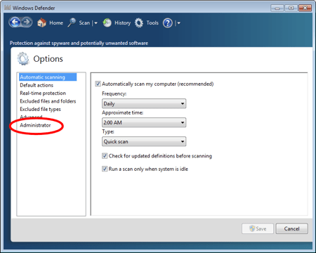 the Windows Defender Settings with a circle around Administrator