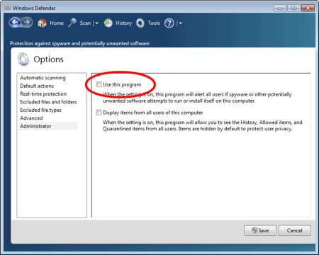 disable Windows Defender in Windows 7 by removing the Usage This Program check mark