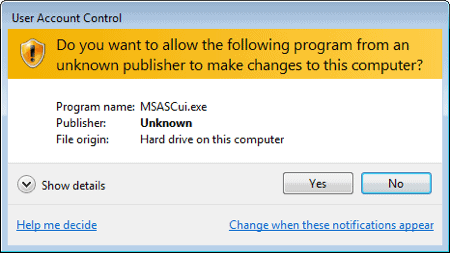 Disable Windows Defender in Windows 7 confirmation dialog box