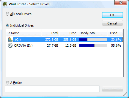 select drives in windirstat