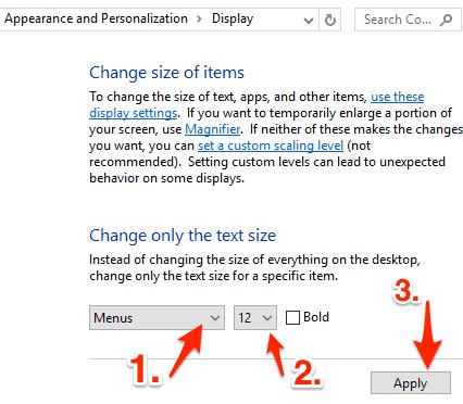 the Display window in the Windows 10 Control Panel