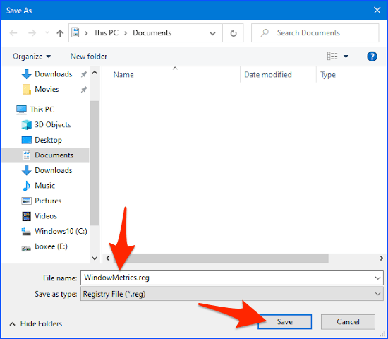 a File Manager Save As panel