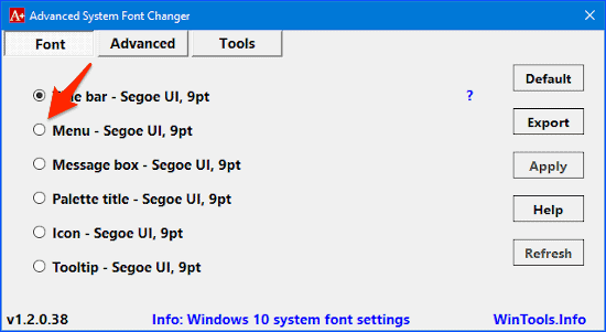 the Advanced System Font Changer main window