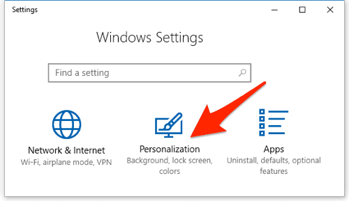screenshot of the main windows 10 settings window with Personalization highlighted