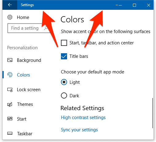 screenshot of the windows 10 settings screen with a colored titled bar