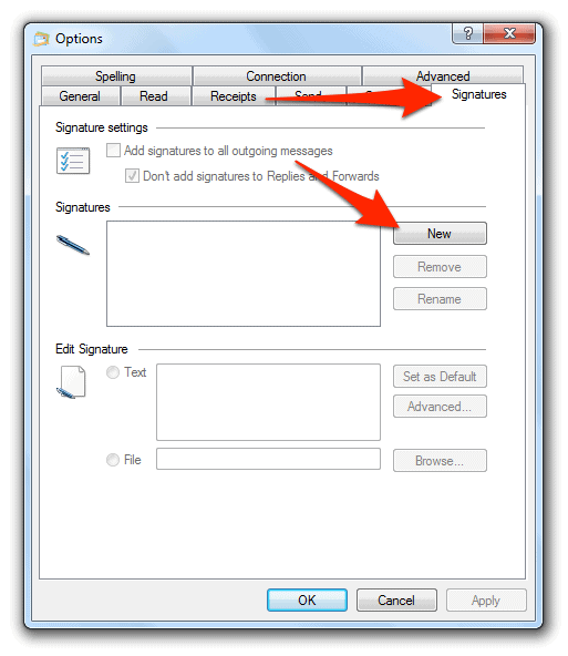 how to add text signature in windows live mail