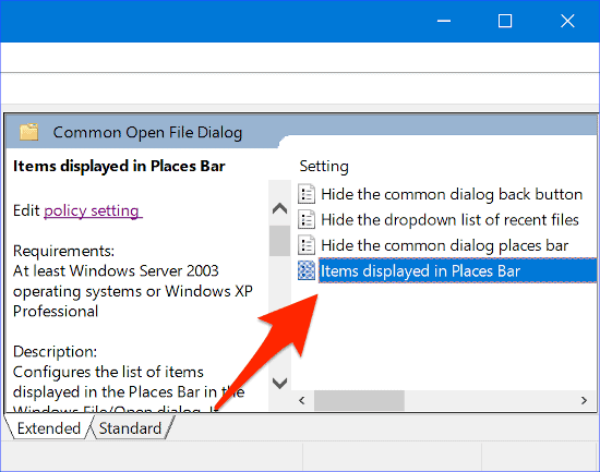 selecting Items displayed in Places Bar in the Group Policy Editor