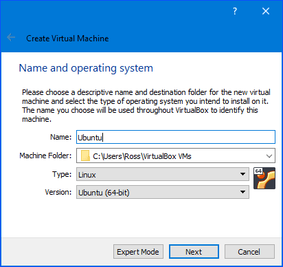 setting the virtualbox name and type
