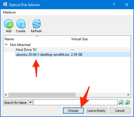 the optical disk selector window in the VirtualBox app