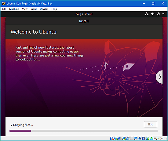 instalar Ubuntu en Windows a través de VirtualBox