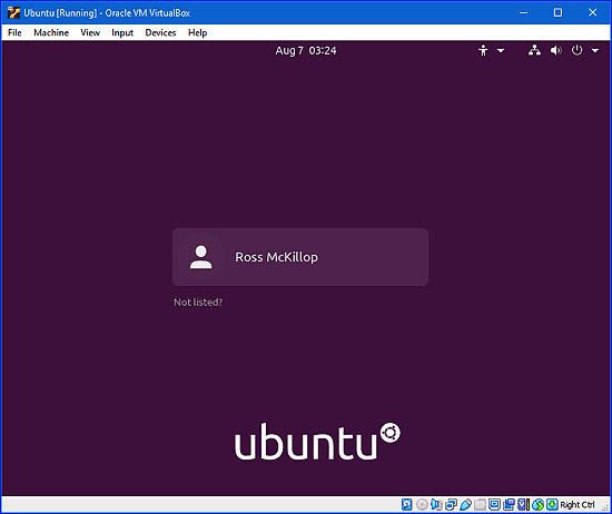 Pantalla de inicio de sesión de Ubuntu
