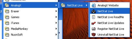 open analogx netstat live