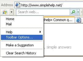 Windows Live Toolbar options