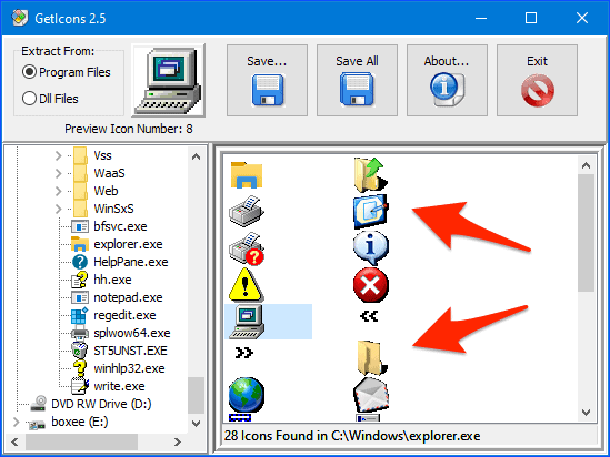 GetIcons Windows app with icons files ready to extract