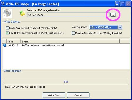 cdburnerxp pro burning an iso file