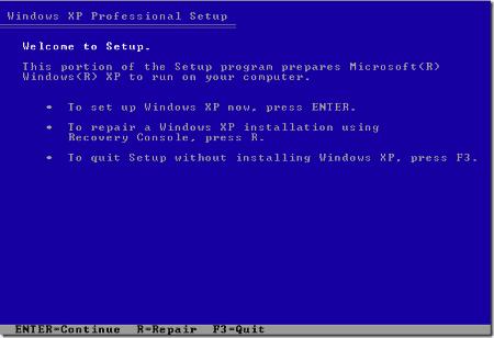 The Windows XP Setup screen