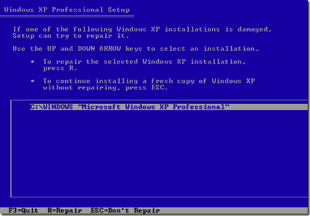 the Windows XP Repair the selected Windows XP installation screen