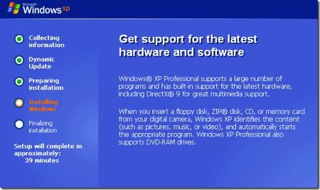 Windows XP Installing screen