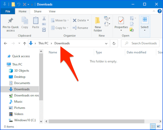 a Windows File Explorer window with an arrow pointing to the Address Bar