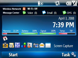 Windows Mobile Smartphone with Windows Mobile 7 skin