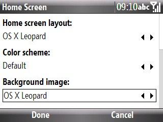 home screen setup in windows mobile