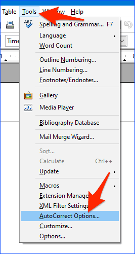 an arrow pointing at the Tools menu item and another arrow pointing at AutoCorrect Options option in the list