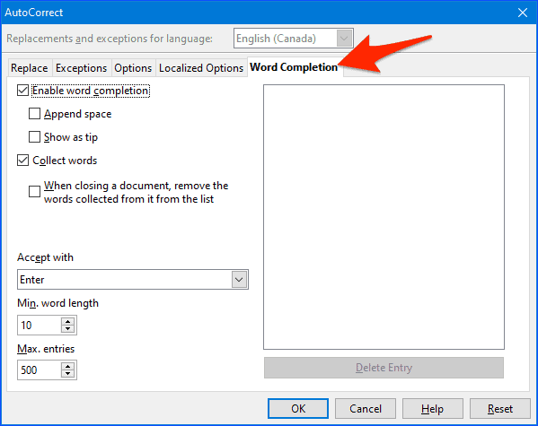 the Word Completion options window for Open Office
