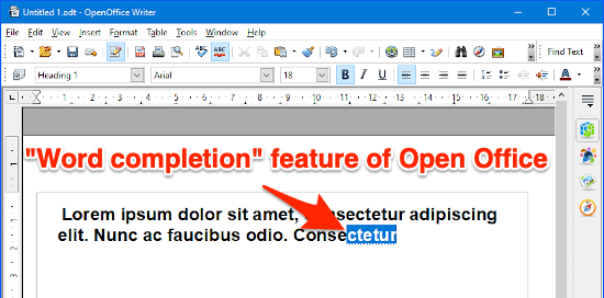 the word completion open office feature being utilized in a document