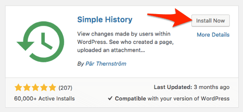 an arrow pointing at the Install button for the Simple History plugin