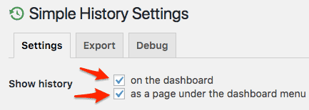 the Simple History plugin Settings section