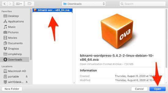 an .ova file in a Finder window