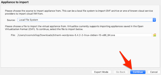 the second stage of importing an appliance into VirtualBox