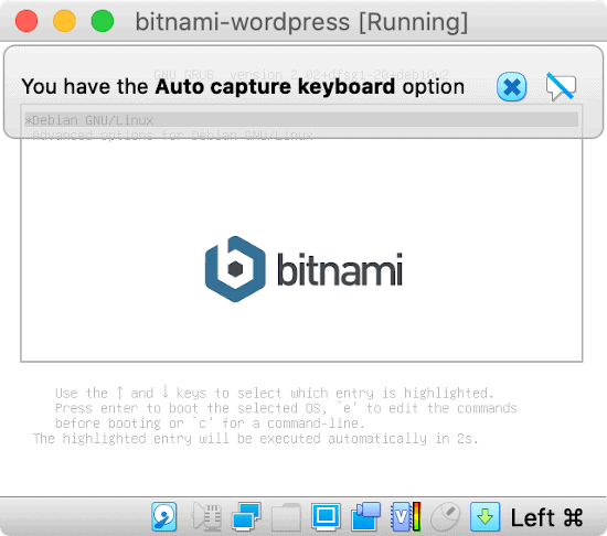 a bitnami wordpress device booting