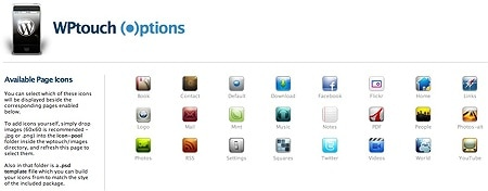 wptouch page icon options