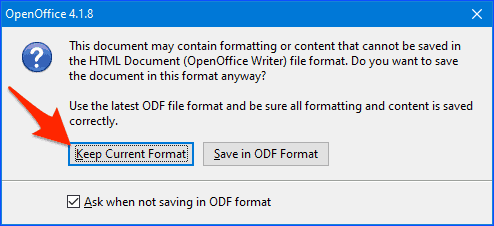 the open office formatting warning