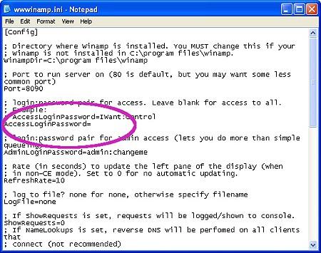 wwwinamp config file